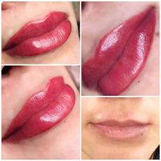 Перманентный макияж губ с растушёвкой, Helen makeup